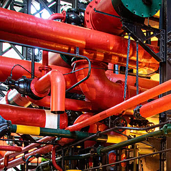 Colored pipes in an industrial setting